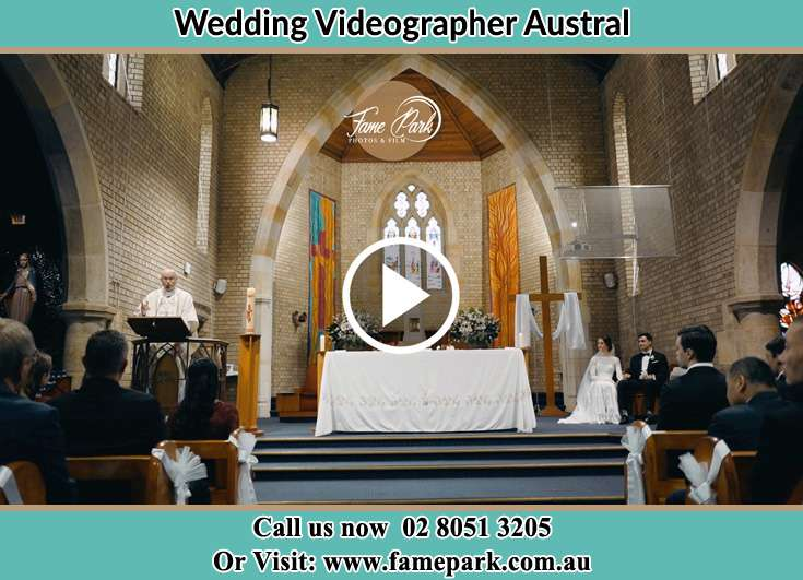 Bride and Groom at the altar during the ceremony Austral NSW 2179
