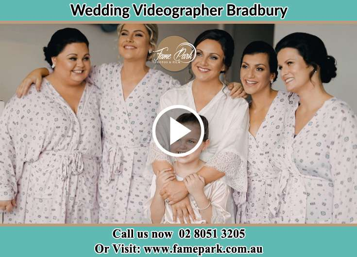 Bride and her secondary sponsors during the pajama party Bradbury NSW 2560