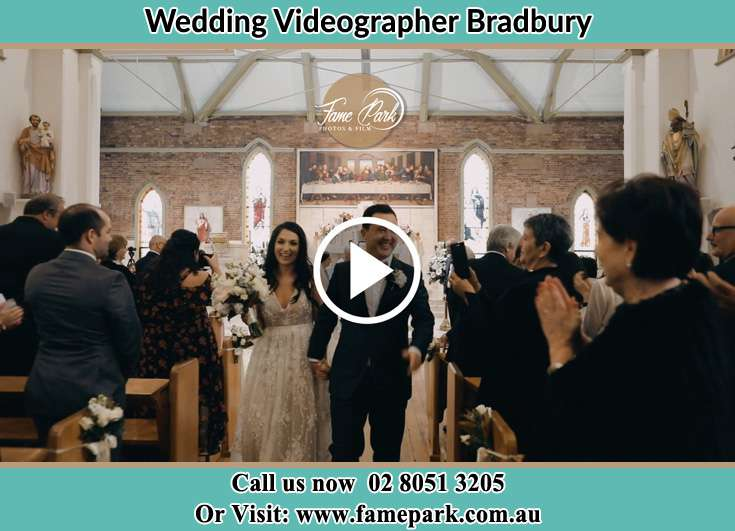 Bride and Groom walking at the aisle during the ceremony Bradbury NSW 2560