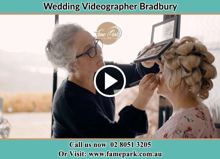 Bride getting her make up done Bradbury NSW 2560