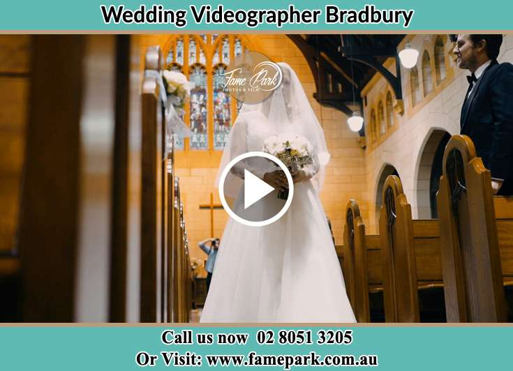 Bride walking through the aisle Bradbury NSW 2560