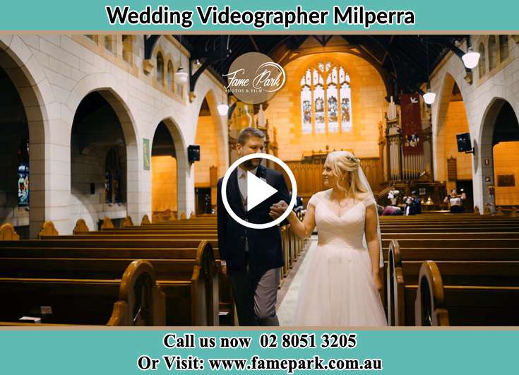 Bride and Groom walking at the aisle Milperra NSW 2214