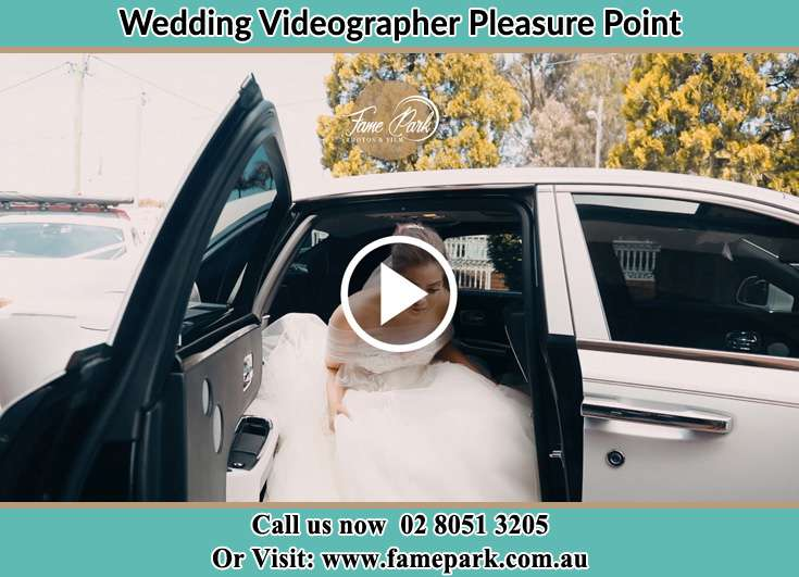 The Bride dismounting from the Bridal car Pleasure Point NSW 2172