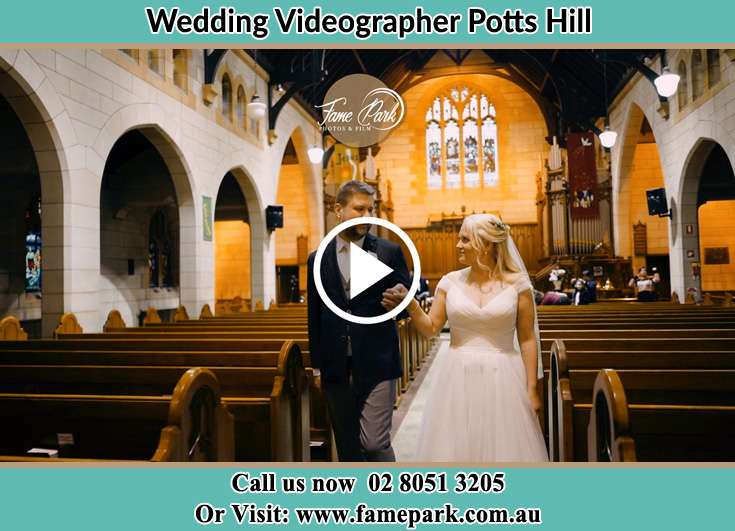 Bride and Groom walking at the aisle Potts Hill NSW 2143