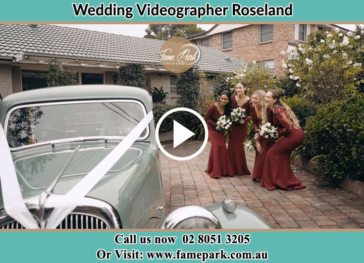 The Bride posing for the camera with her friends Roseland NSW 2196
