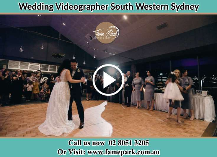 The newly weds dancing at the dance floor South Western Sydney
